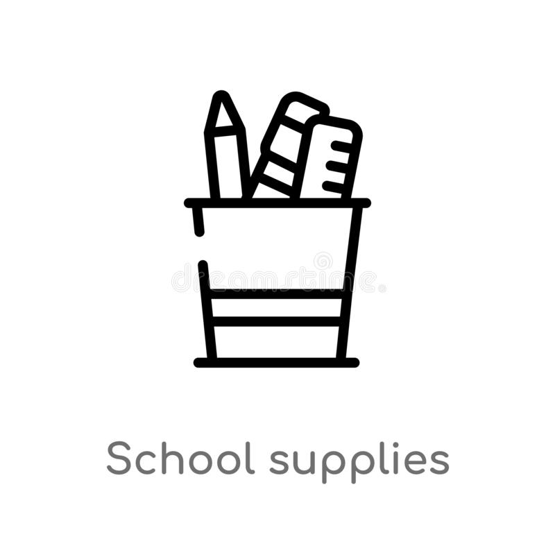 Outline school supplies vector icon. isolated black simple line element illustration from education concept. editable vector. Stroke school supplies icon on vector illustration