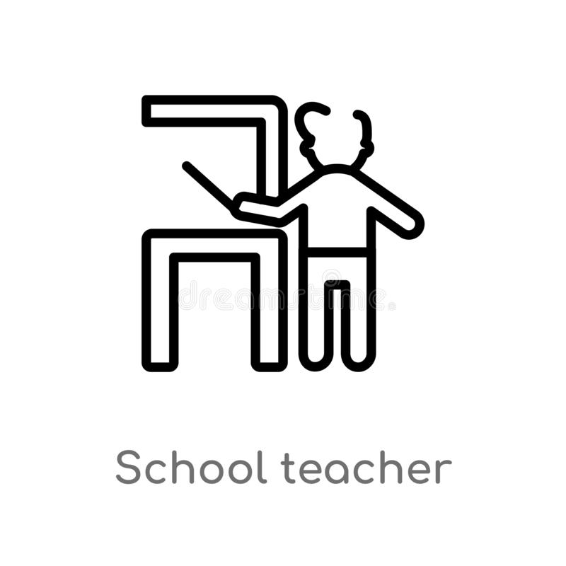 Outline school teacher vector icon. isolated black simple line element illustration from people concept. editable vector stroke. School teacher icon on white stock illustration