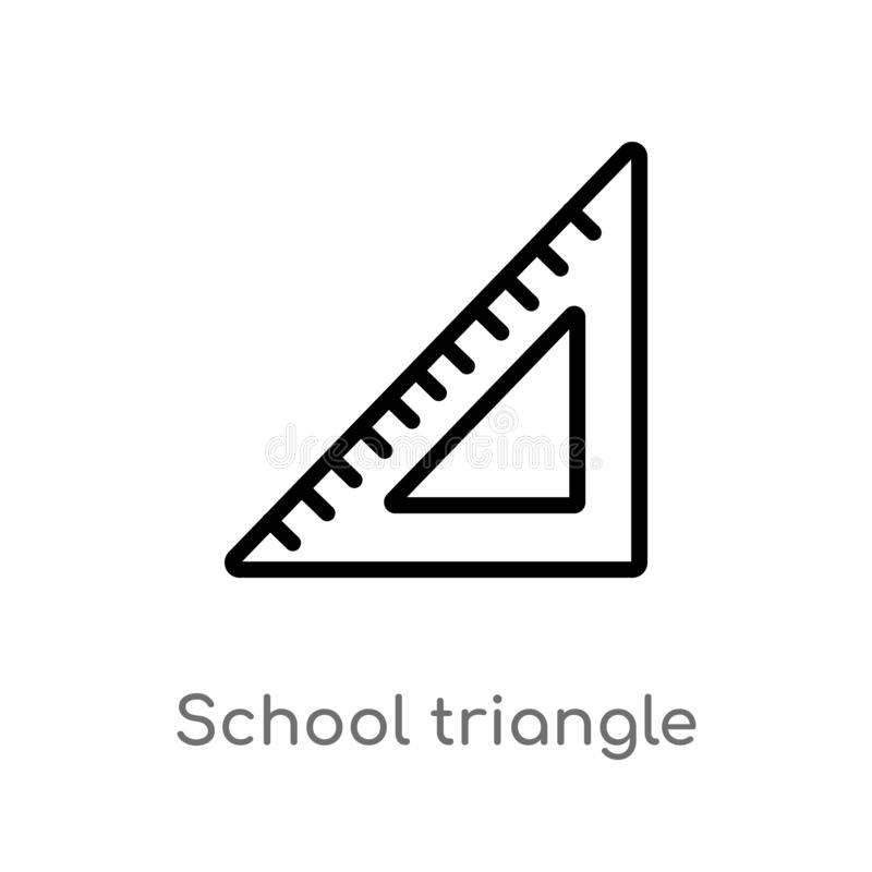 Outline school triangle vector icon. isolated black simple line element illustration from edit tools concept. editable vector. Stroke school triangle icon on stock illustration
