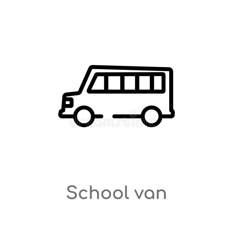 Outline school van vector icon. isolated black simple line element illustration from transport concept. editable vector stroke. School van icon on white royalty free illustration