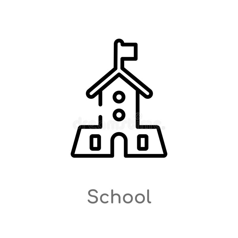 Outline school vector icon. isolated black simple line element illustration from education 2 concept. editable vector stroke. School icon on white background royalty free illustration