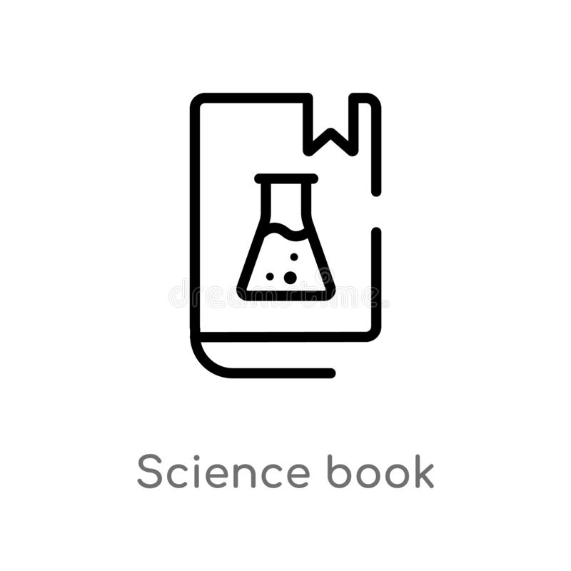 Outline science book vector icon. isolated black simple line element illustration from science concept. editable vector stroke. Science book icon on white royalty free illustration