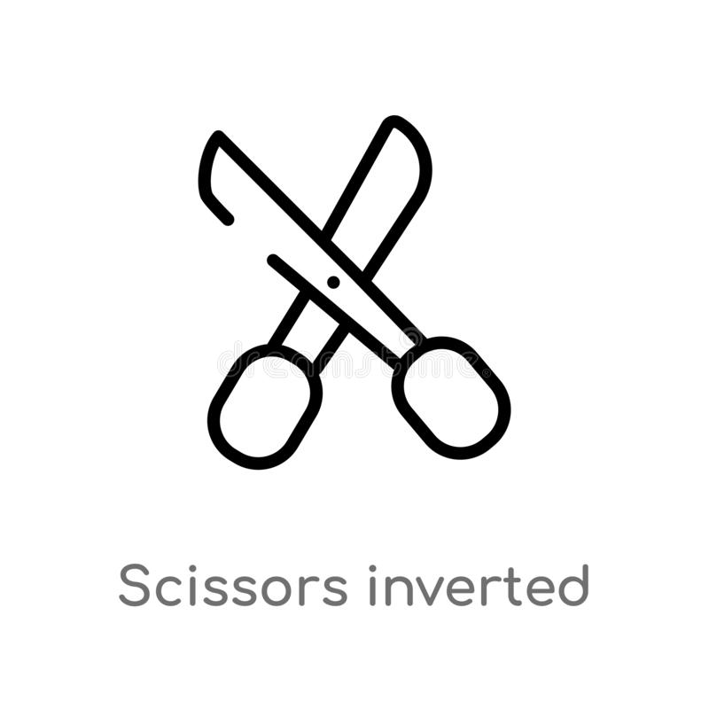 Outline scissors inverted view vector icon. isolated black simple line element illustration from woman clothing concept. editable. Vector stroke scissors vector illustration