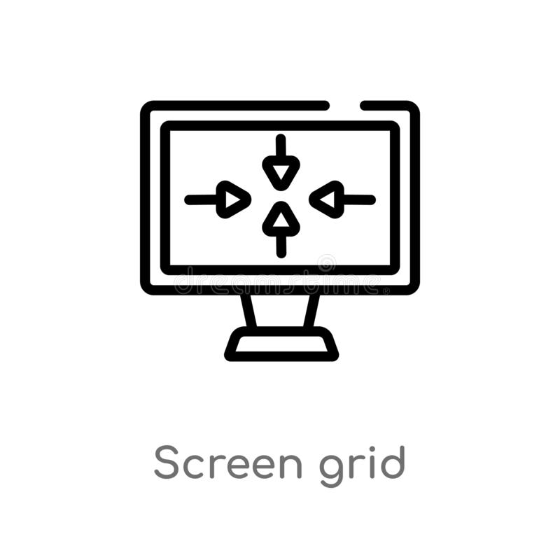Outline screen grid vector icon. isolated black simple line element illustration from electronic stuff fill concept. editable. Vector stroke screen grid icon on royalty free illustration