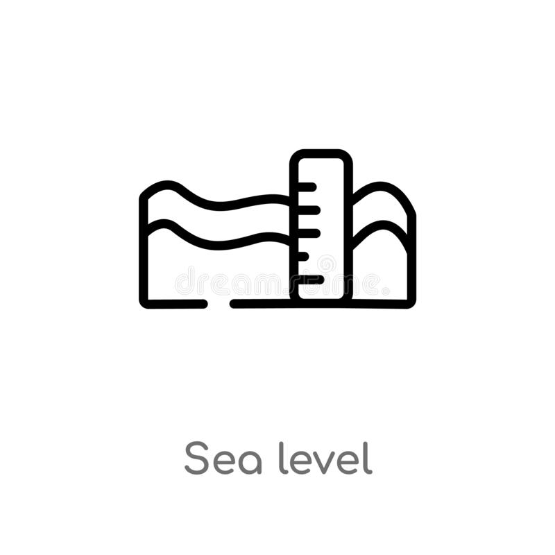 Outline sea level vector icon. isolated black simple line element illustration from weather concept. editable vector stroke sea. Level icon on white background vector illustration