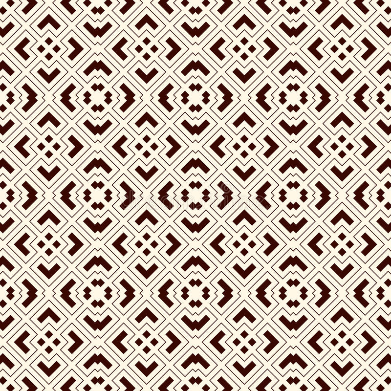 Outline seamless pattern with geometric figures. Repeated squares and rhombuses ornamental abstract background. royalty free illustration