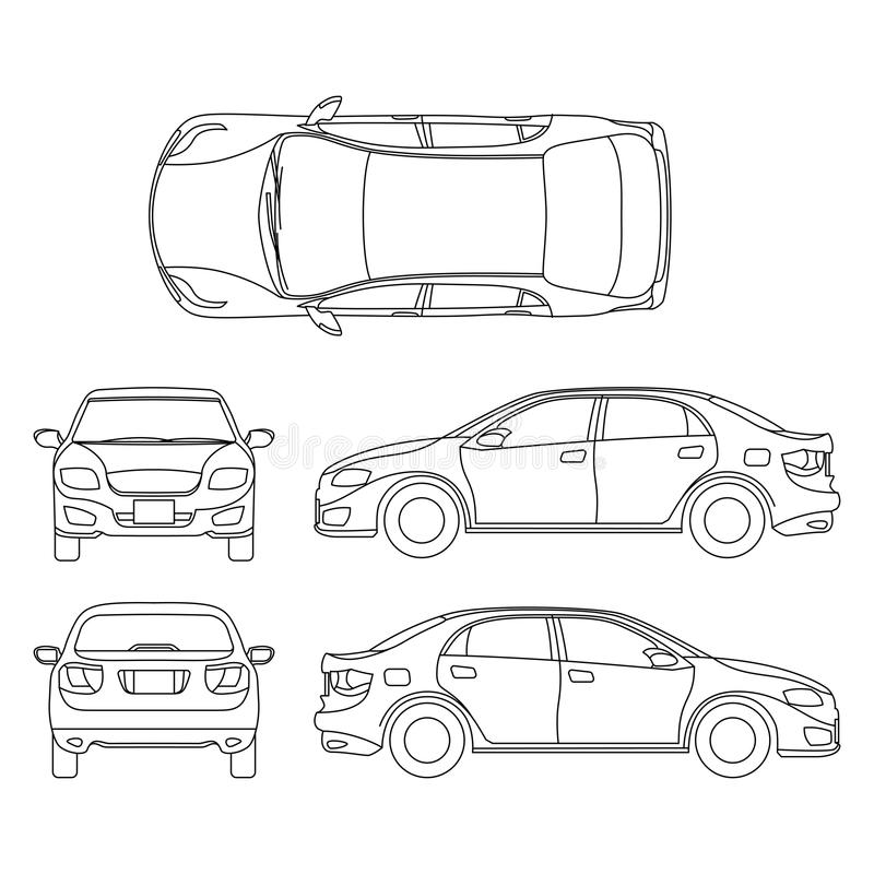 outline sedan car vector drawing in different point of view stock vector