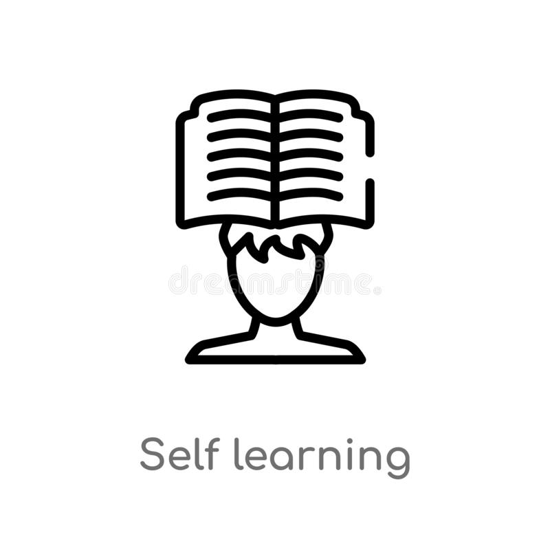 outline self learning vector icon. isolated black simple line element illustration from other concept. editable vector stroke self stock illustration