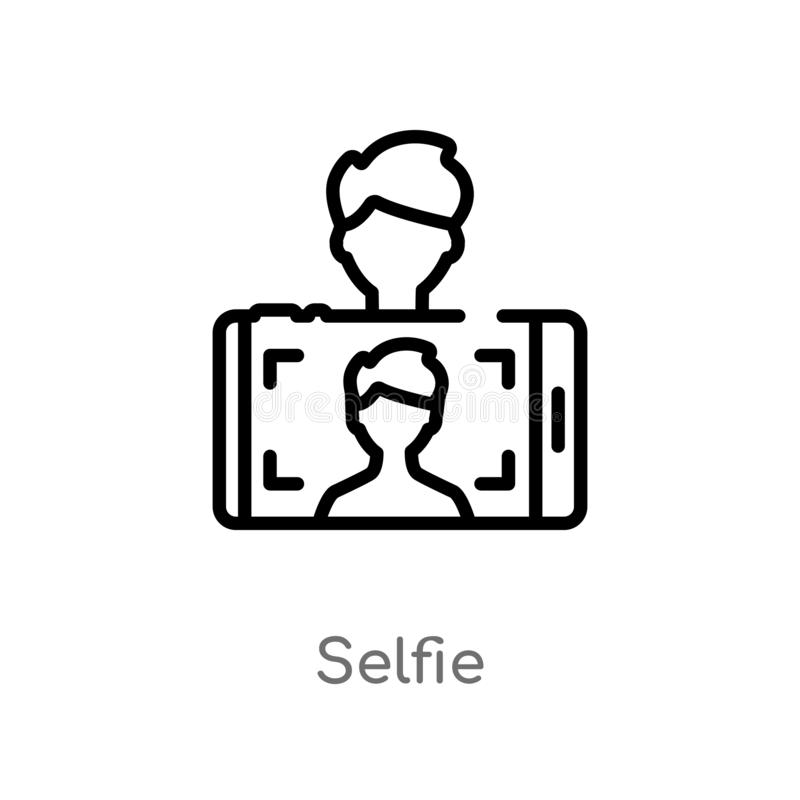 Outline selfie vector icon. isolated black simple line element illustration from blogger and influencer concept. editable vector. Stroke selfie icon on white royalty free illustration