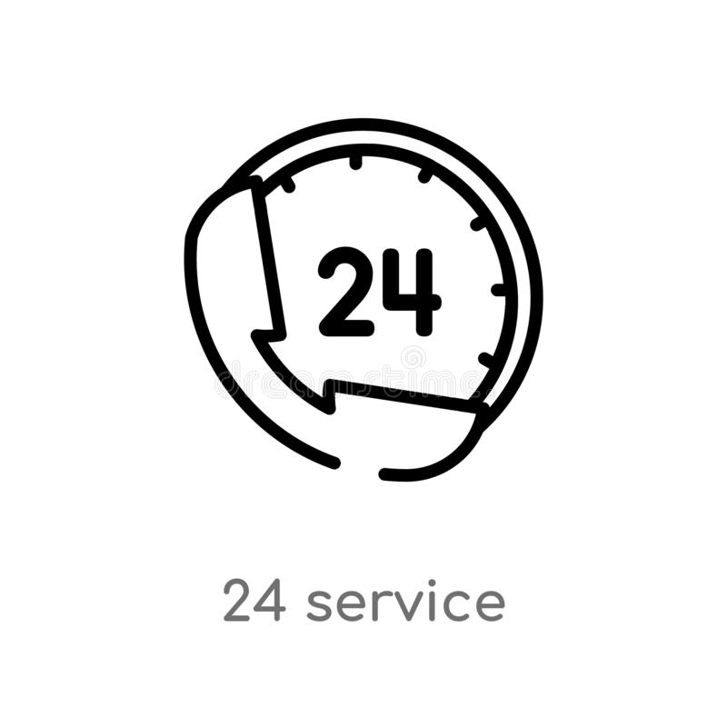 outline 24 service vector icon. isolated black simple line element illustration from hotel concept. editable vector stroke 24 royalty free illustration