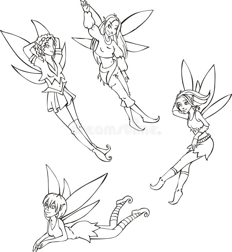 Download Outline Set Of Cute Fairies Stock Vector - Illustration of black, wizard: 39260584