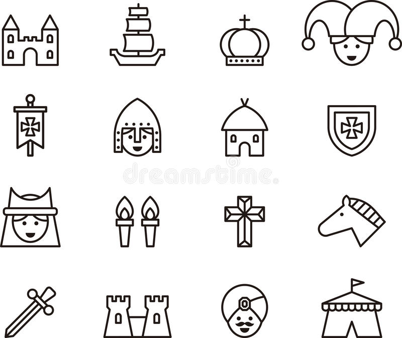 outline set of medieval icons stock photo image of