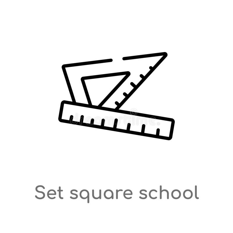 Outline set square school tool vector icon. isolated black simple line element illustration from education concept. editable. Vector stroke set square school vector illustration