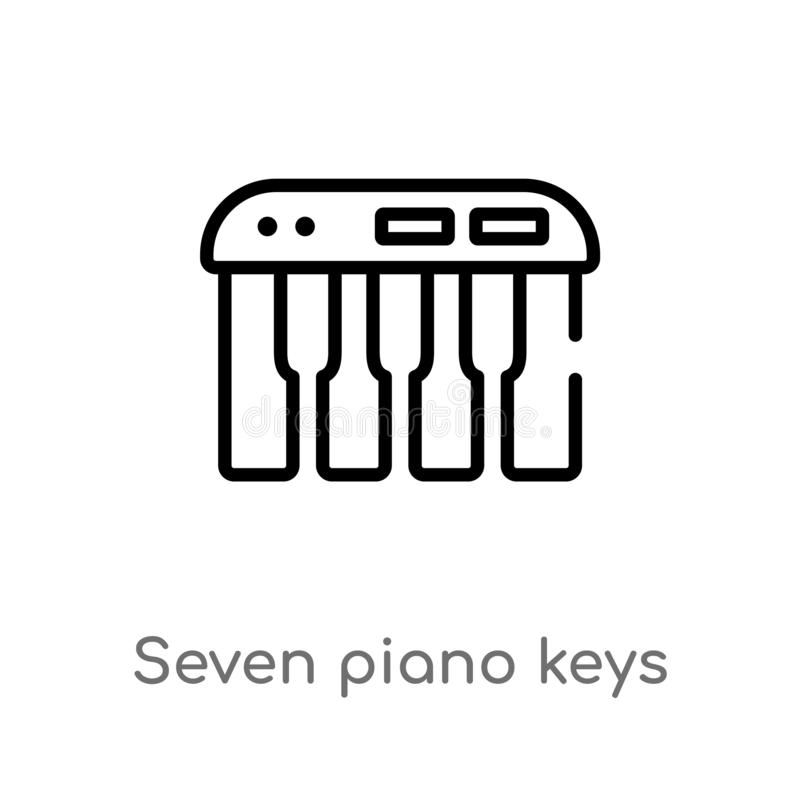 Outline seven piano keys vector icon. isolated black simple line element illustration from music concept. editable vector stroke. Seven piano keys icon on white stock illustration