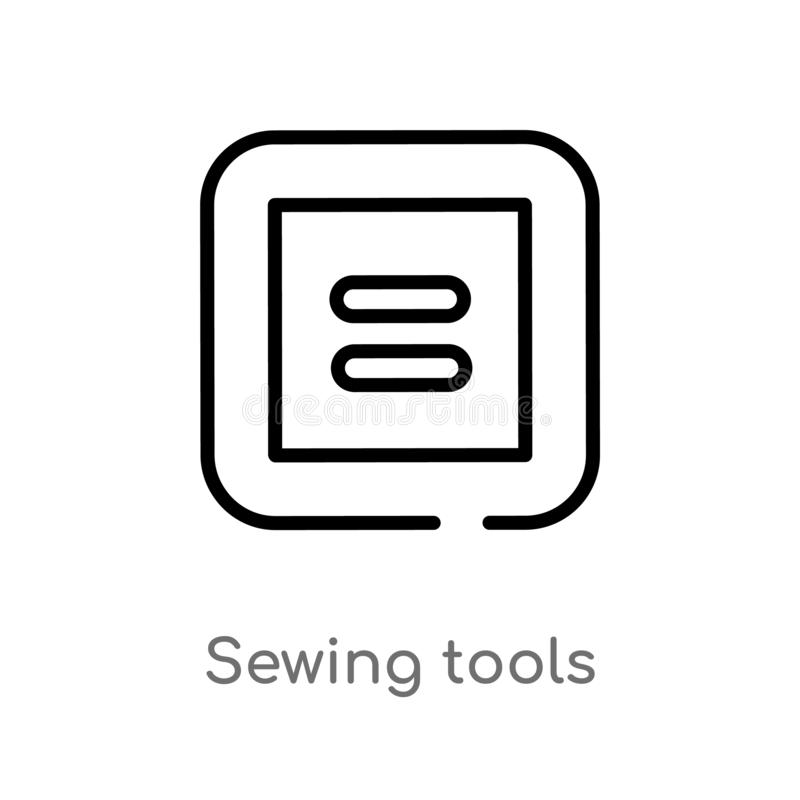 outline sewing tools vector icon. isolated black simple line element illustration from sew concept. editable vector stroke sewing royalty free illustration