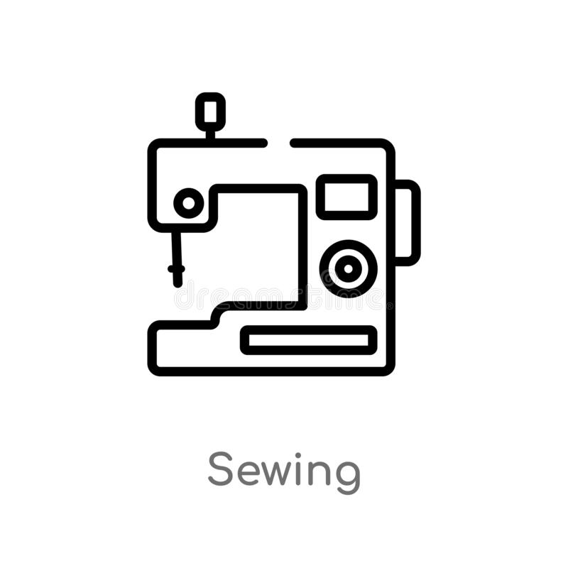 outline sewing vector icon. isolated black simple line element illustration from free time concept. editable vector stroke sewing royalty free illustration