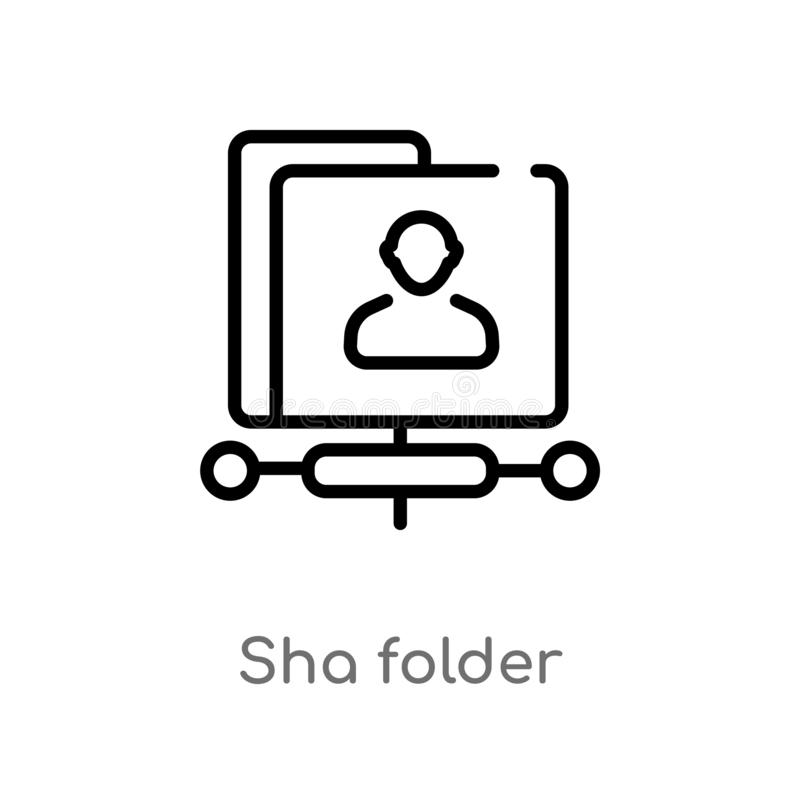 outline sha folder vector icon. isolated black simple line element illustration from search engine optimization concept. editable stock illustration