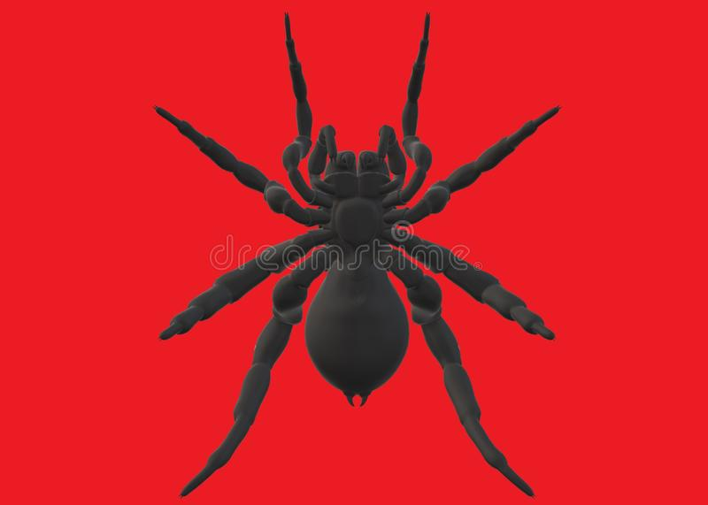 An outline shadow shape silhouette of a large black spider stock image