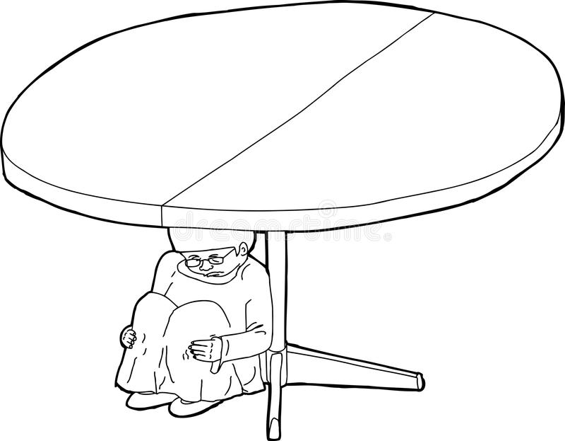 Outline of Shaking Girl Under Table vector illustration