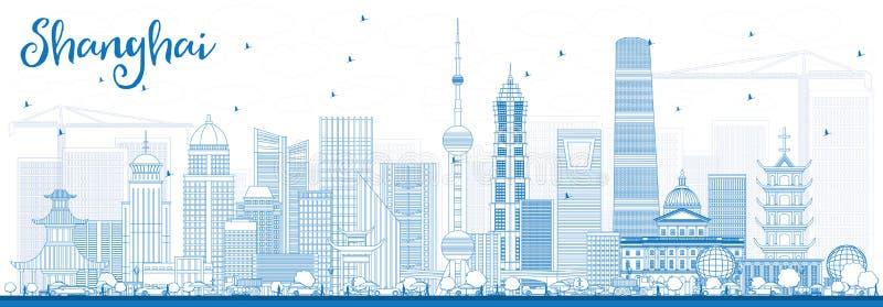 Outline Shanghai Skyline with Blue Buildings. vector illustration