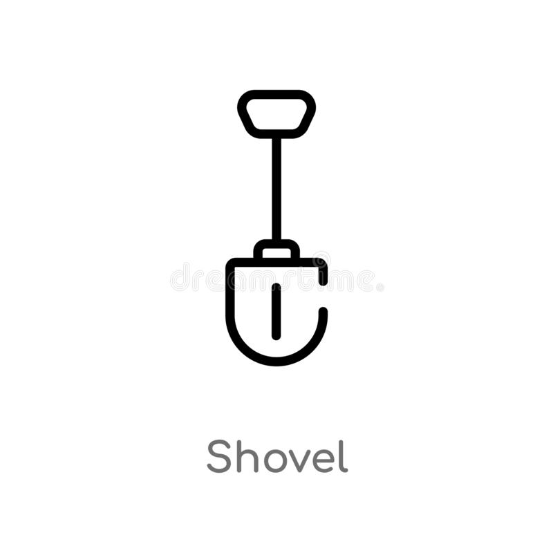 outline shovel vector icon. isolated black simple line element illustration from camping concept. editable vector stroke shovel vector illustration