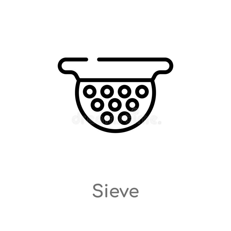 outline sieve vector icon. isolated black simple line element illustration from drinks concept. editable vector stroke sieve icon vector illustration