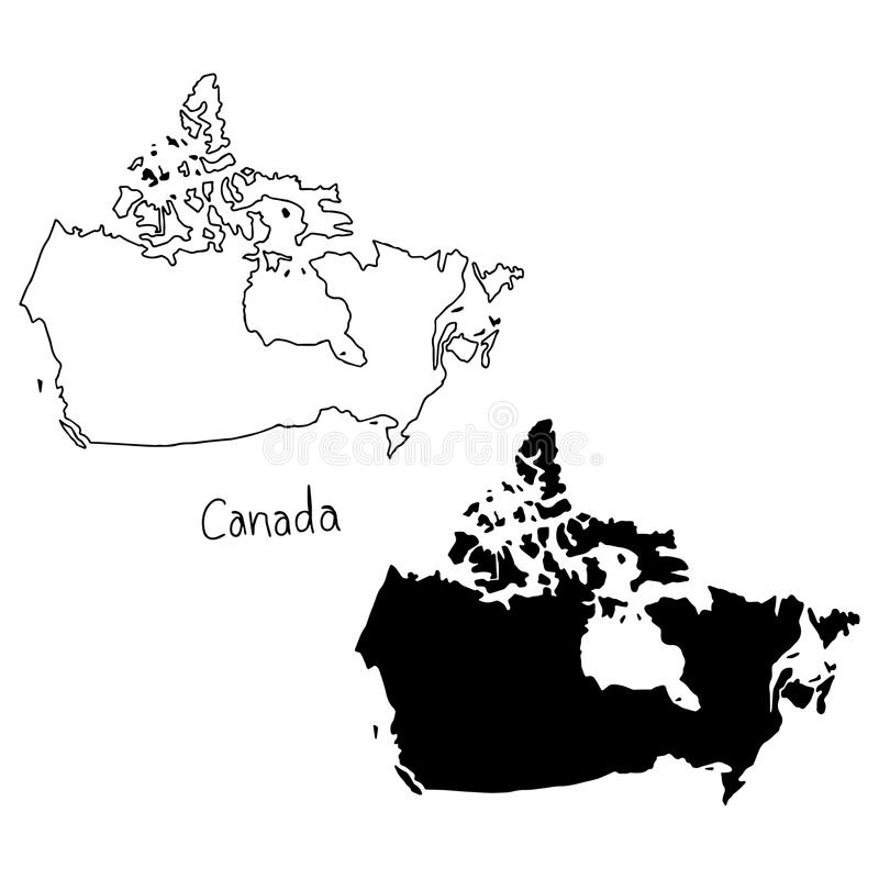 Outline and silhouette map of Canada - vector illustration hand. Drawn with black lines, isolated on white background vector illustration
