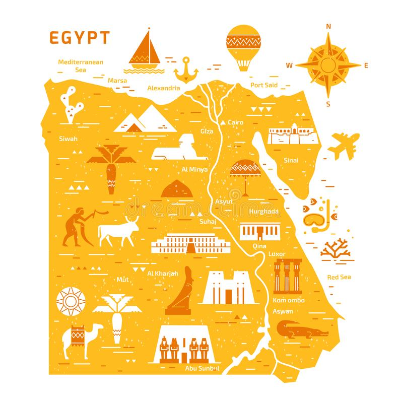Outline and silhouette map of Egypt - vector illustration hand drawn with black lines stock illustration