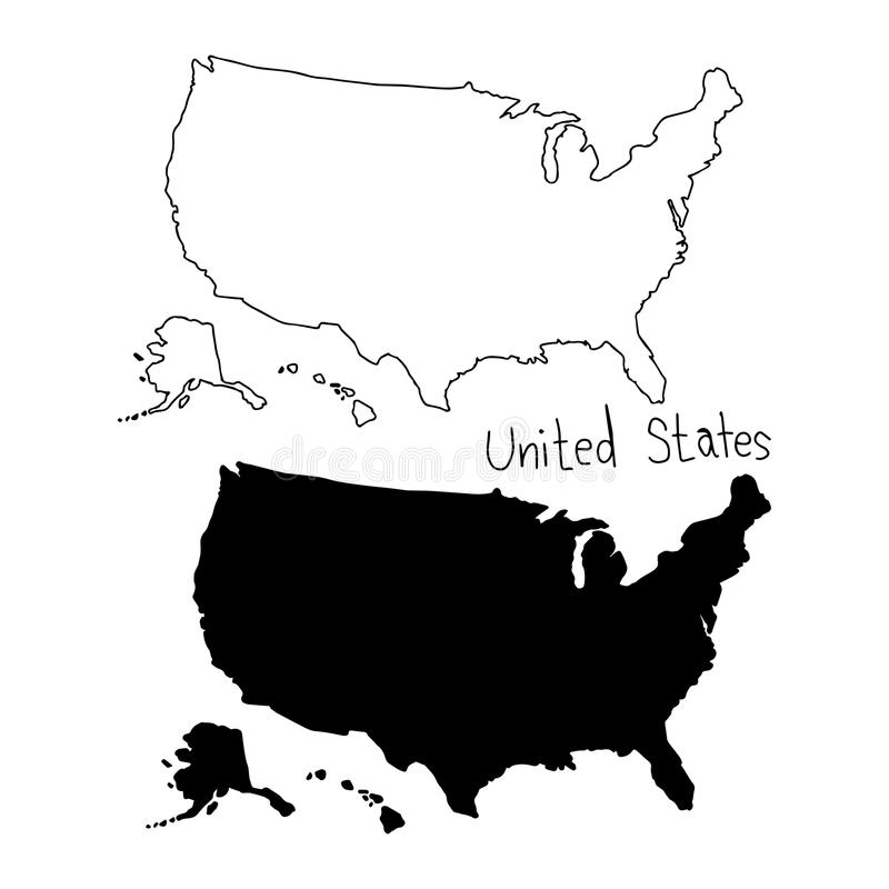 outline and silhouette map of The United states - vector illustration hand drawn with black lines, isolated on white background stock illustration