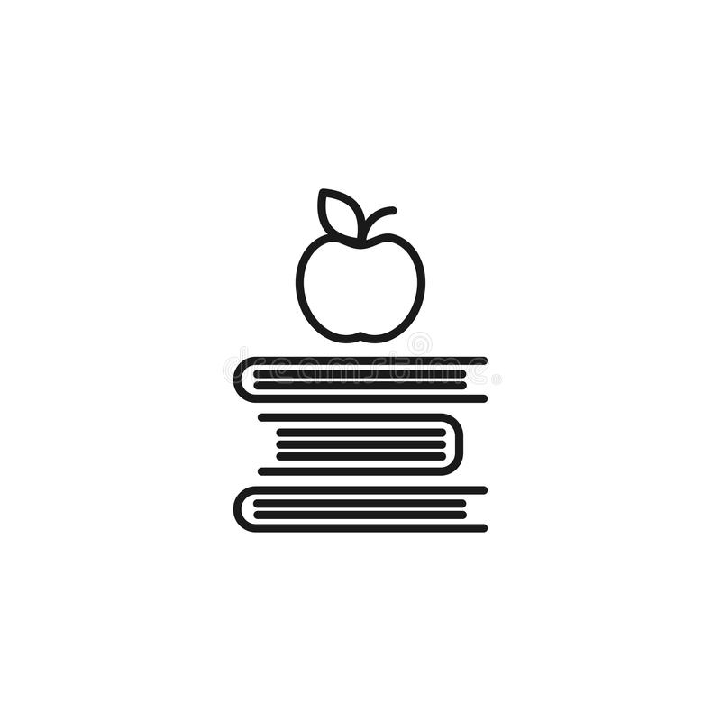 Outline Silhouettes of Books and apple. Isolated on white background. Flat icon. Vector illustration. stock illustration