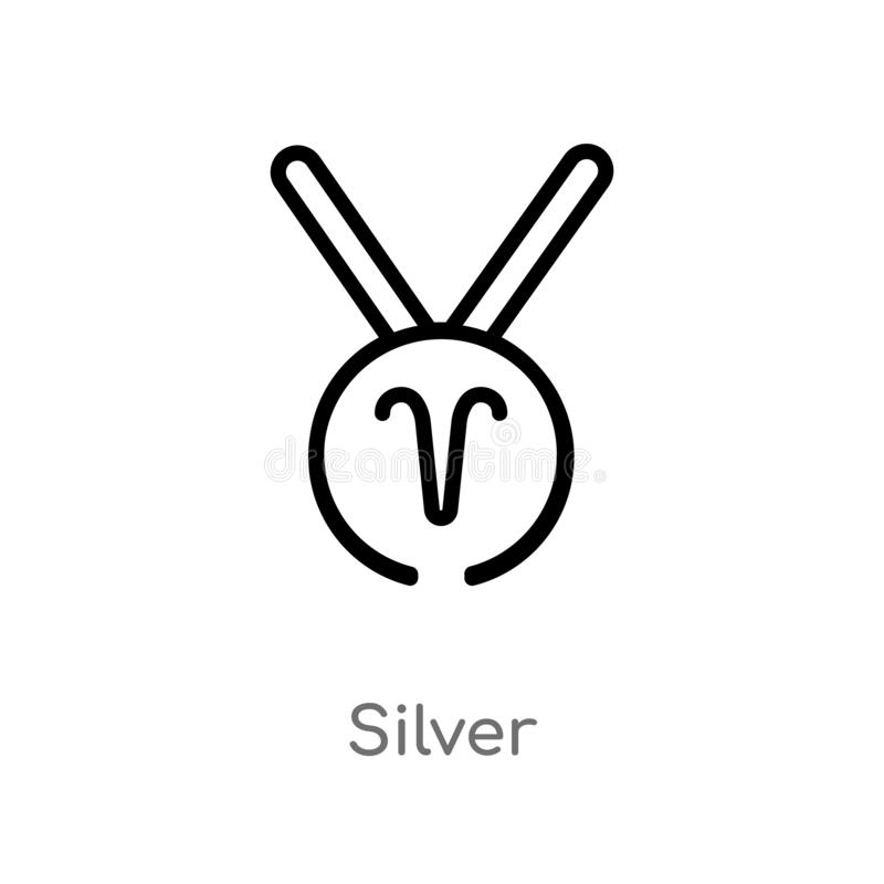 outline silver vector icon. isolated black simple line element illustration from zodiac concept. editable vector stroke silver vector illustration
