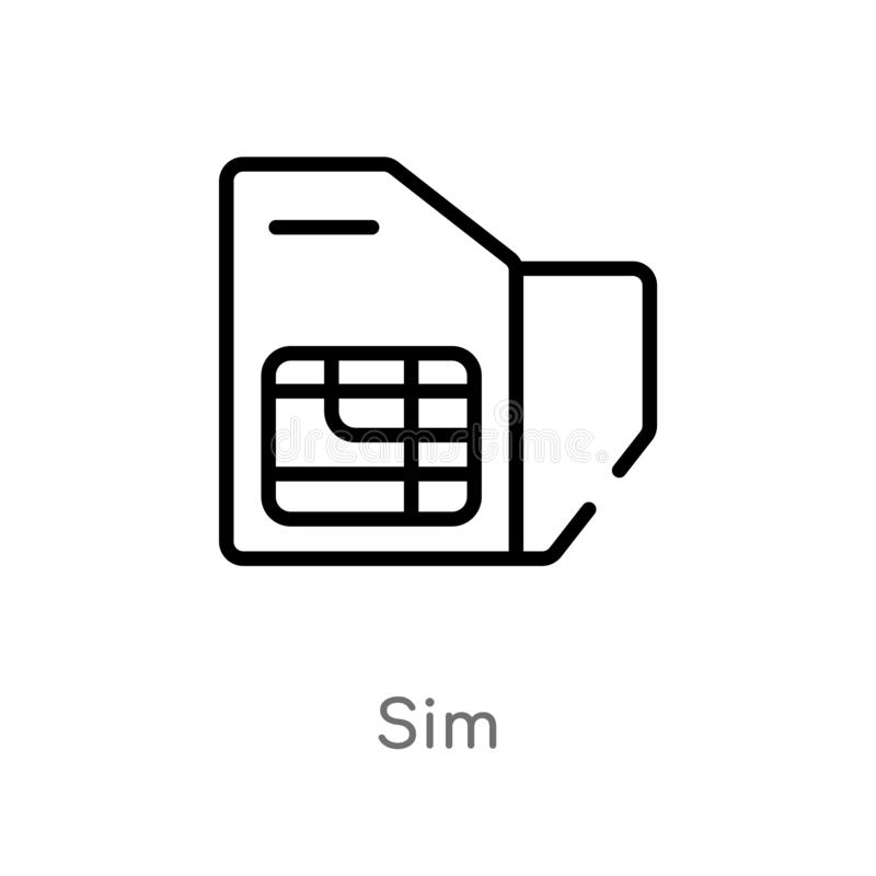 Outline sim vector icon. isolated black simple line element illustration from electronic devices concept. editable vector stroke. Sim icon on white background stock illustration