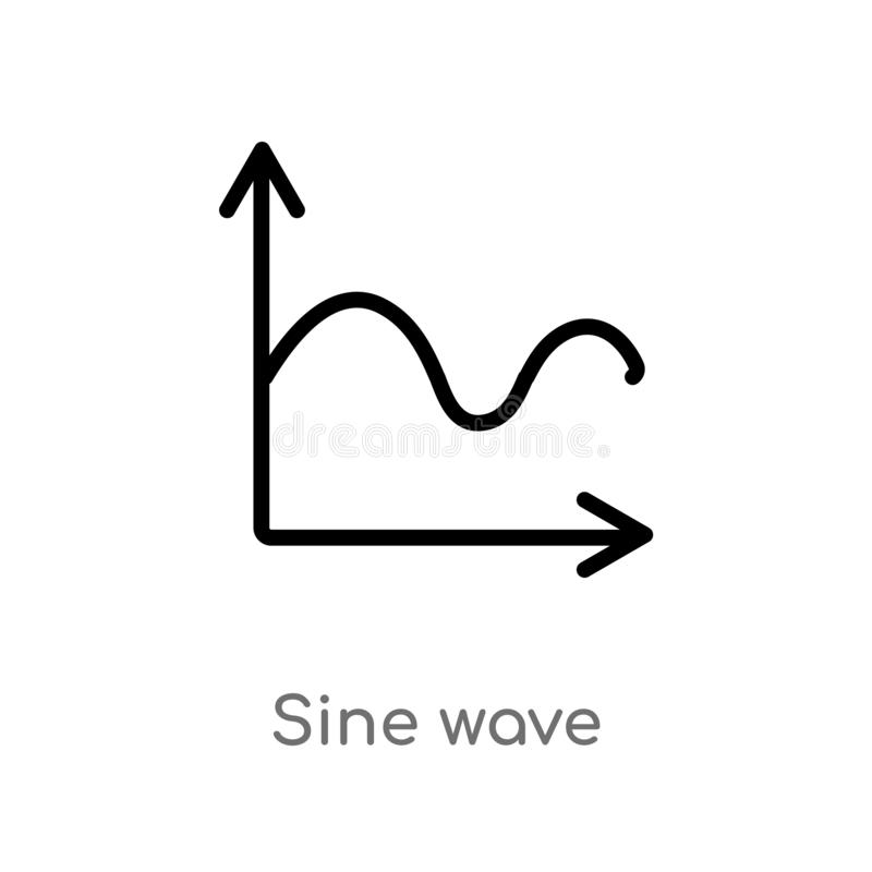 Outline sine wave vector icon. isolated black simple line element illustration from user interface concept. editable vector stroke. Sine wave icon on white royalty free illustration