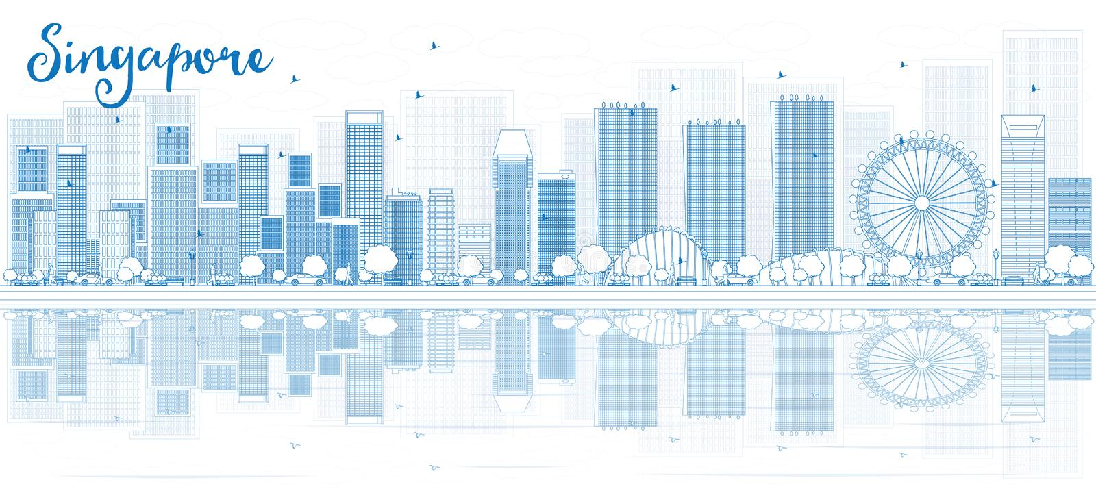 Outline Singapore skyline with blue buildings and reflections. royalty free illustration