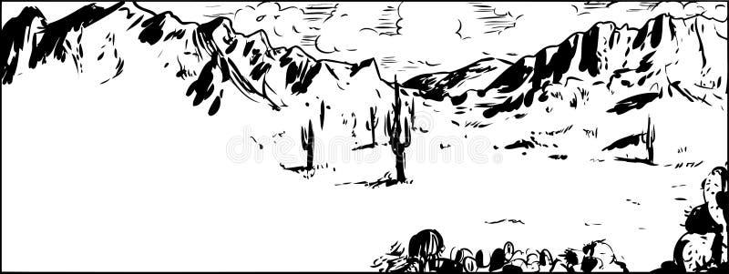 Outline Sketch Of Arizona Desert With Cactus Stock ...