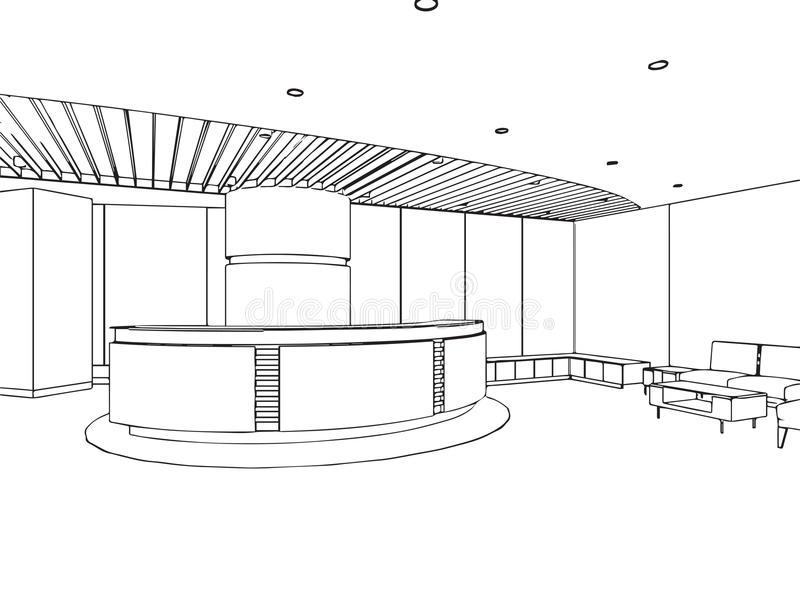Outline sketch of a interior. Outline sketch drawing perspective of a interior space