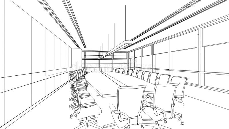 Outline sketch of a interior meeting room royalty free illustration