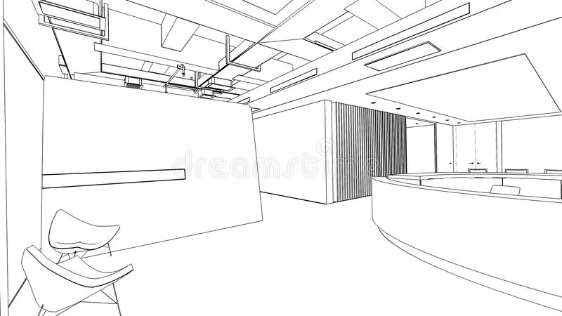 Outline sketch of a interior reception area vector illustration