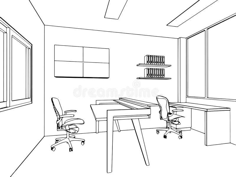 Outline sketch of a interior. Space