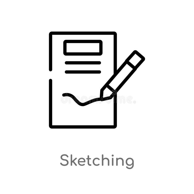 outline sketching vector icon. isolated black simple line element illustration from creative pocess concept. editable vector stock illustration