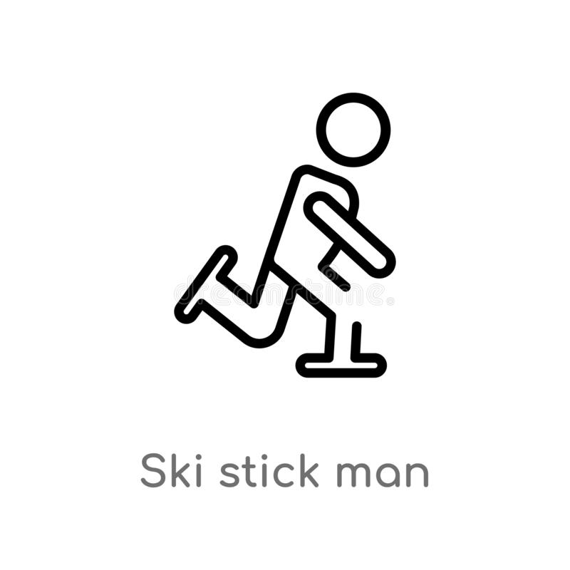 Outline ski stick man vector icon. isolated black simple line element illustration from people concept. editable vector stroke ski. Stick man icon on white royalty free illustration