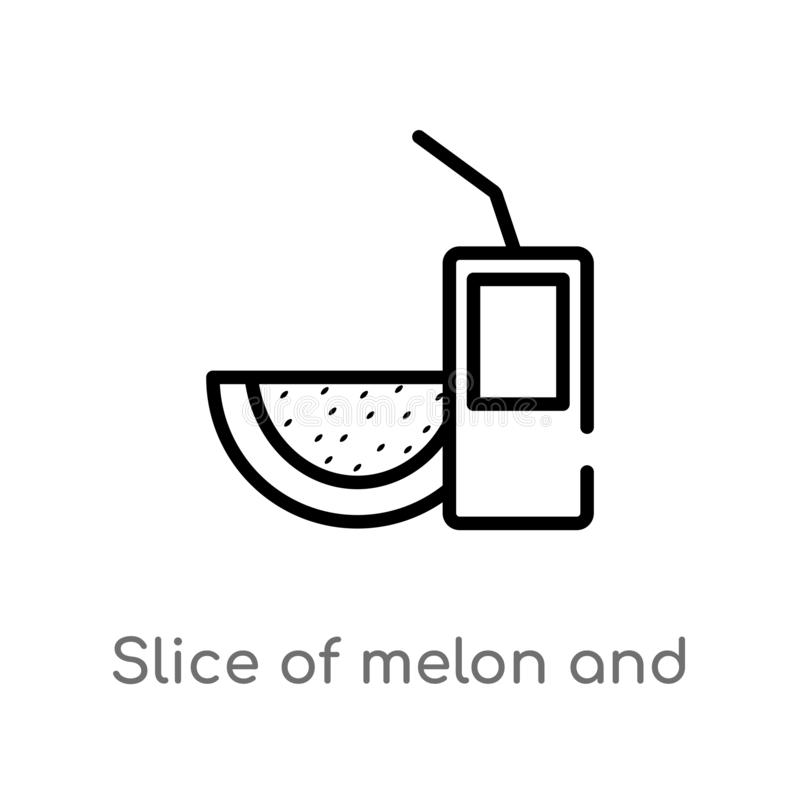 Outline slice of melon and juice vector icon. isolated black simple line element illustration from food concept. editable vector. Stroke slice of melon and vector illustration