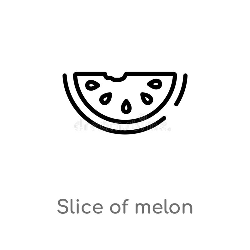 Outline slice of melon vector icon. isolated black simple line element illustration from summer concept. editable vector stroke. Slice of melon icon on white royalty free illustration