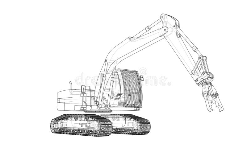 Outline sloopkraan concept. Vector. Outline sloopkraan or demolition crane concept. Vector rendering of 3d. Wire-frame style. The layers of visible and invisible stock illustration