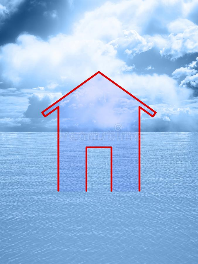 Outline of a small house against a calm sea with cloudy sky - Concept image with copy space.  stock illustration