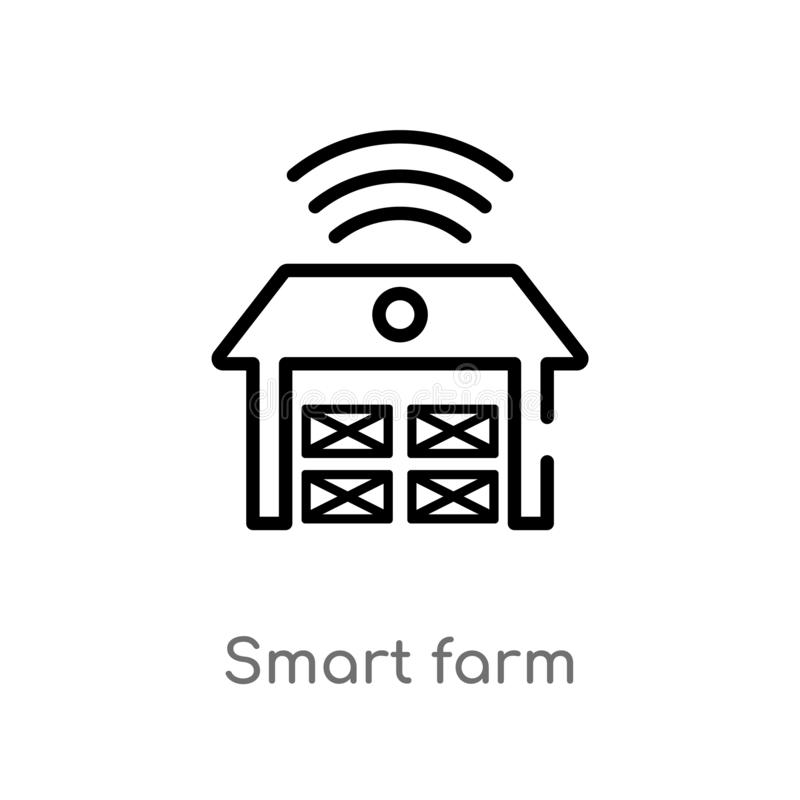 outline smart farm vector icon. isolated black simple line element illustration from agriculture farming concept. editable vector royalty free illustration