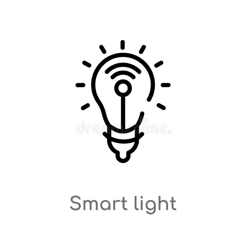 Outline smart light vector icon. isolated black simple line element illustration from electronic devices concept. editable vector. Stroke smart light icon on royalty free illustration