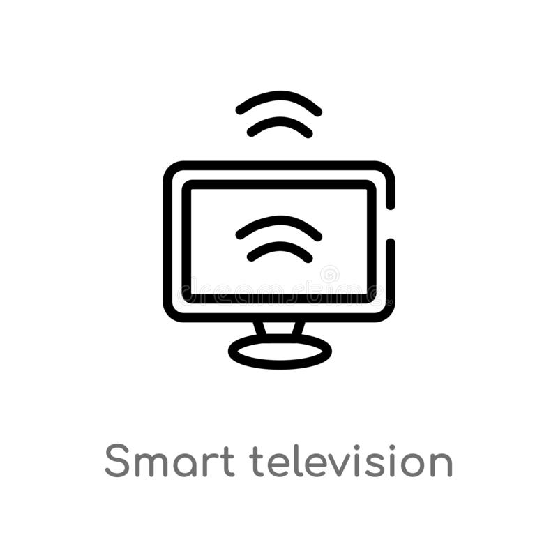 outline smart television vector icon. isolated black simple line element illustration from smart home concept. editable vector stock illustration