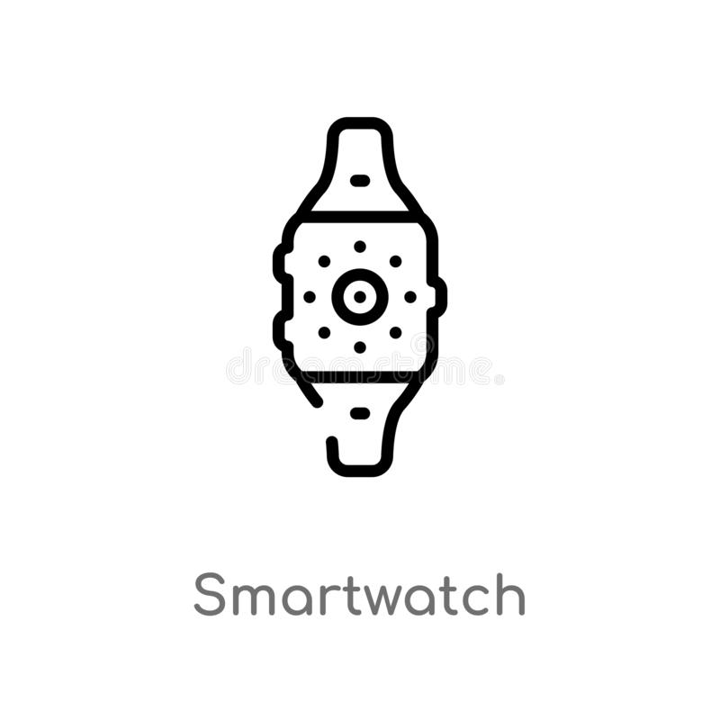 outline smartwatch vector icon. isolated black simple line element illustration from electronic devices concept. editable vector vector illustration