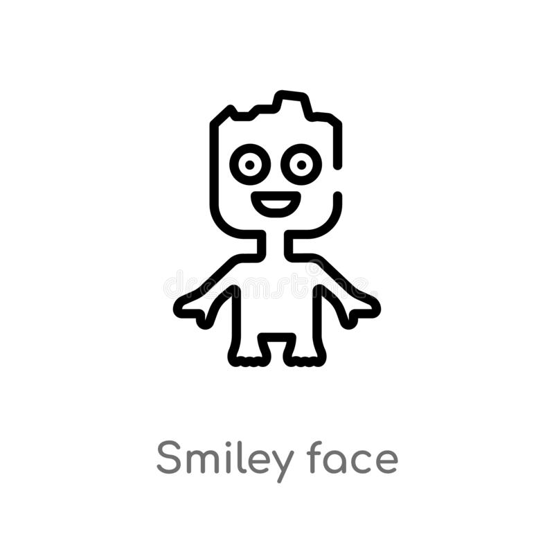 Outline smiley face vector icon. isolated black simple line element illustration from charity concept. editable vector stroke. Smiley face icon on white stock illustration